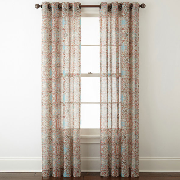 JCPenney Home Batiste Paisley Grommet-Top Sheer Curtain Panel ...