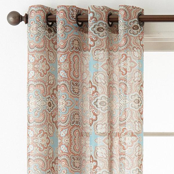 JCPenney Home Batiste Paisley Grommet-Top Sheer Curtain