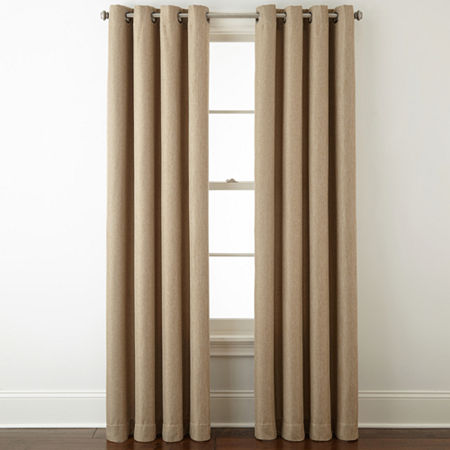 JCPenney Home Pasadena Blackout Grommet-Top Single Curtain Panel, One Size , Brown