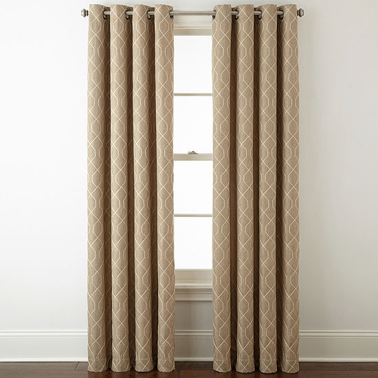 JCPenney Home Pasadena Embroidery Blackout Grommet-Top Single Curtain Panel