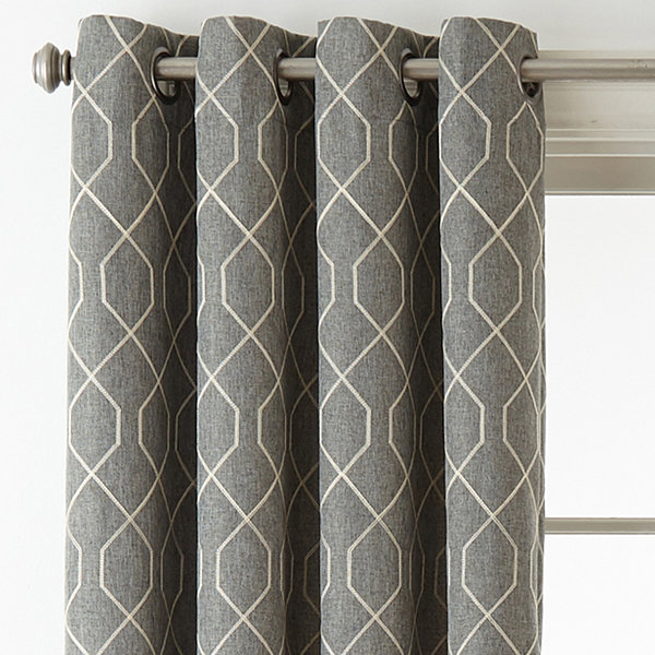 Home Expressions Pasadena Embroidery Blackout Grommet Top Curtain Panel Jcpenney