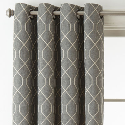 JCPenney Home Pasadena Embroidery Blackout Grommet-Top Curtain Panel