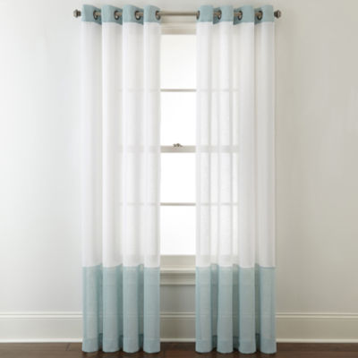 JCPenney Home Bayview Color Block Grommet-Top Sheer Curtain Panel