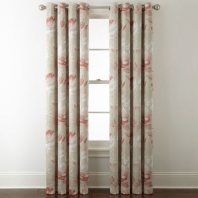 JCPenney Home Kathryn Floral Room Darkening Grommet-Top Curtain Panel