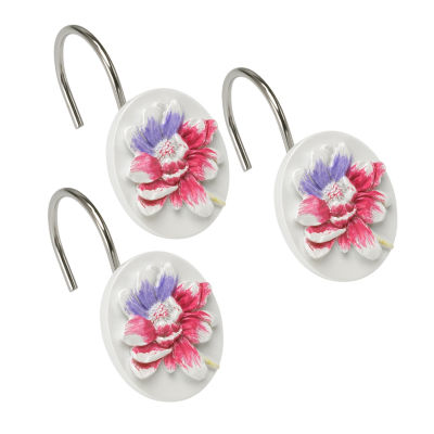 Popular Bath Flower Haven Shower Curtain Hooks