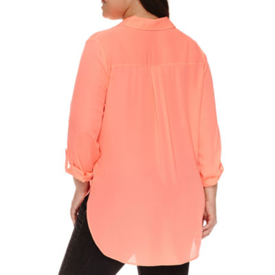Boutique + 3/4 Sleeve Button-Front Shirt-Plus