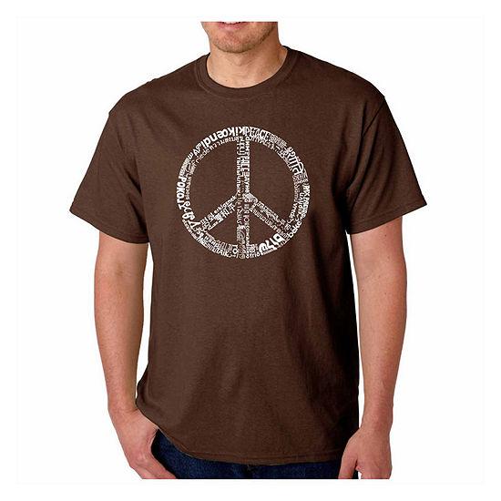Los Angeles Pop Art World Peace Short Sleeve WordArt T-Shirt-Men's Big and Tall
