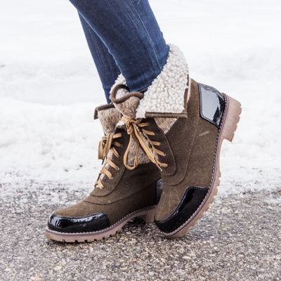 Muk Luks Womens Jandon Winter Boots Water Resistant Block Heel Lace-up