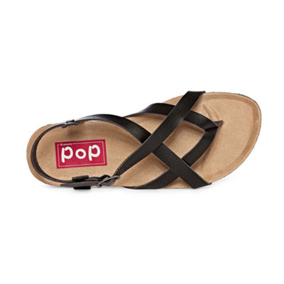 Pop Womens Linda Ankle Strap Flat Sandals