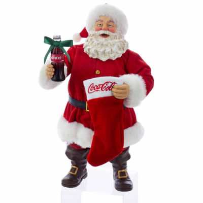 "Kurt Adler Coca-Cola® 10"" Santa With Coke Bottle and Stocking Table Piece"
