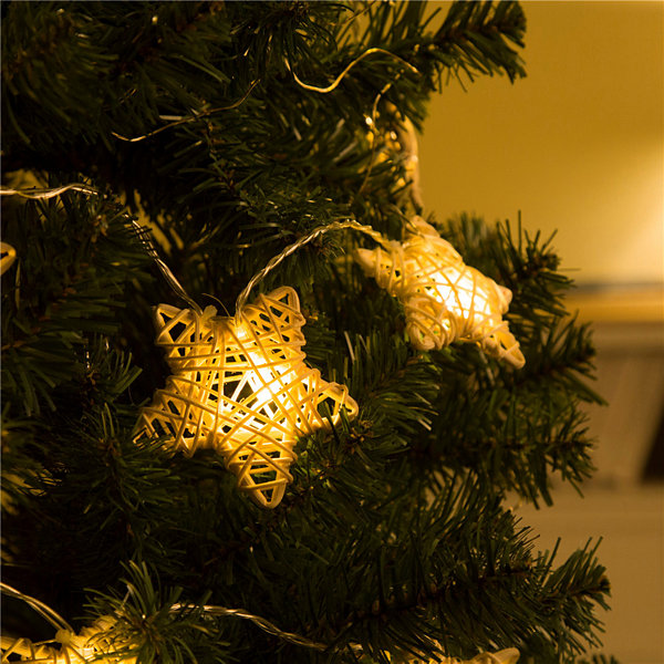 Glitzhome Rattan Star Indoor String Lights