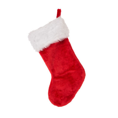 Glitzhome Plush Santa Faux Fur Christmas Stocking