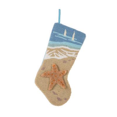 Glitzhome 3d Starfish Hooked Knit Christmas Stocking