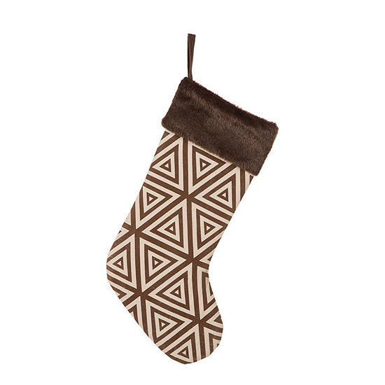 Glitzhome Faux Fur Cuff Knit Christmas Stocking