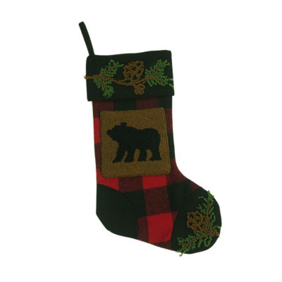 Glitzhome Plaid With Rug Hooked Bear Christmas Stocking