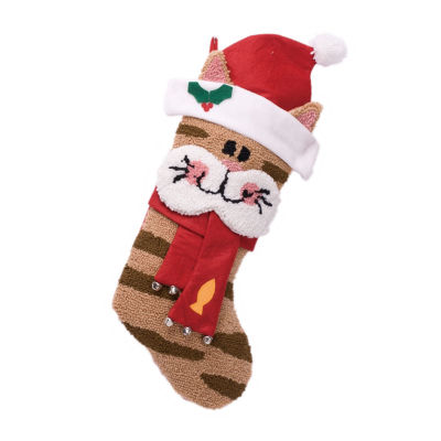 Glitzhome 3d Cat Hooked Knit Christmas Stocking