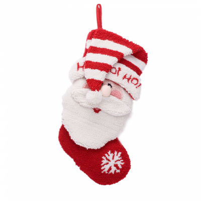 Glitzhome 3d Santa Hooked Christmas Stocking