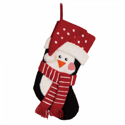 Glitzhome 3d Penguin Hooked Knit Christmas Stocking