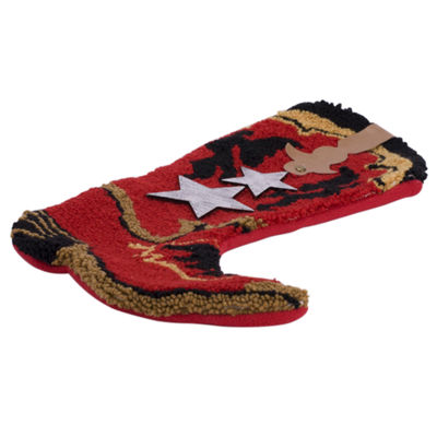 Glitzhome Red Boot Hooked Knit Christmas Stocking