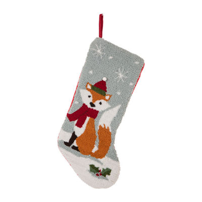 Glitzhome Fox Hooked Knit Christmas Stocking