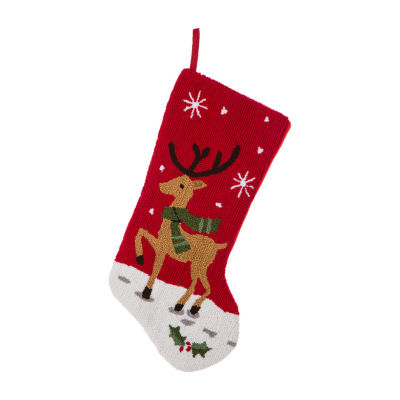 Glitzhome Reindeer Hooked Christmas Stocking
