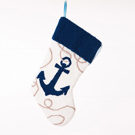 Glitzhome Anchor Hooked Knit Christmas Stocking
