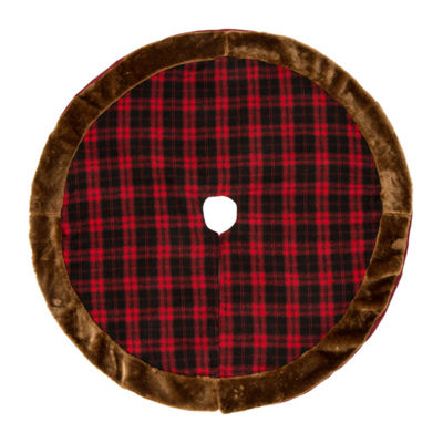 Glitzhome Plaid Sateen Indoor Tree Skirt