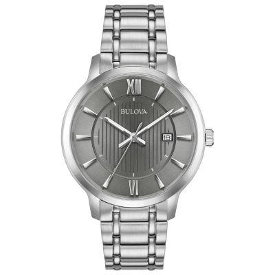 Bulova Mens Silver Tone Bracelet Watch-96b281