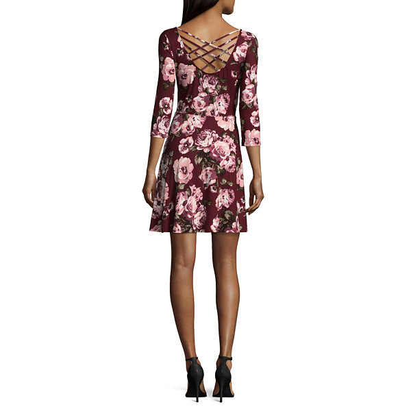 by&by 3/4 Sleeve Floral Fit & Flare Dress-Juniors