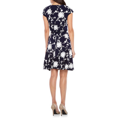 Rabbit Design Cap Sleeve Floral Fit & Flare Dress