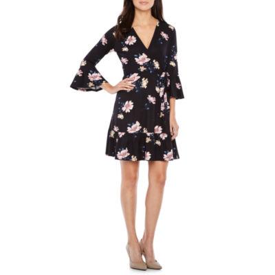 Alyx 3/4 Sleeve Floral Wrap Dress