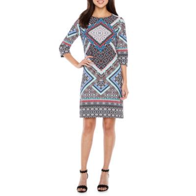 Be by CHETTA B 3/4 Sleeve Pattern Shift Dress