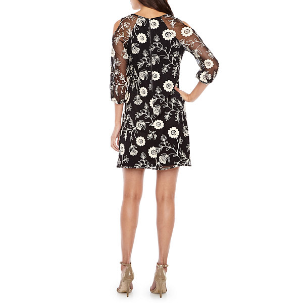 Danny & Nicole 3/4 Sleeve Cold Shoulder Embroidered Floral A-Line Dress