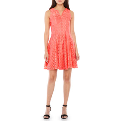 Danny & Nicole Sleeveless Lace Fit & Flare Dress
