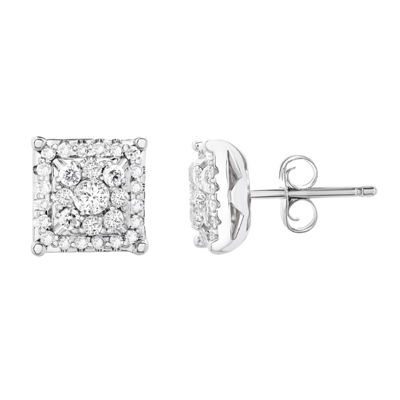 3/8 CT. T.W. Genuine Diamond 14K Gold 7.3mm Round Stud Earrings