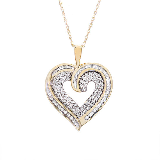 Womens 3/8 CT. T.W. Genuine Diamond 10K Gold Pendant