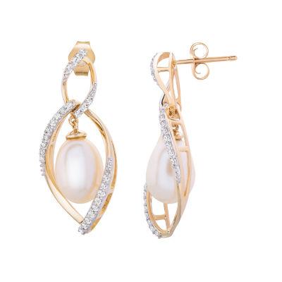 1/4 CT. T.W. Genuine Diamond Cultured Freshwater Pearl 14K Gold Drop Earrings