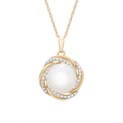 Womens 1/10 CT. T.W. Genuine Diamond Cultured Freshwater Pearl 14K Gold Pendant