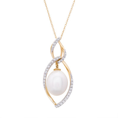 Womens 1/4 CT. T.W. Genuine Diamond Cultured Freshwater Pearl 14K Gold Pendant