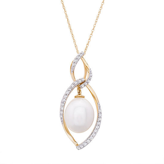 Womens 1/4 CT. T.W. Genuine Diamond Cultured Freshwater Pearl 14K Gold Pendant