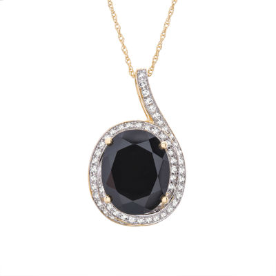 Womens 1/4 CT. T.W. Genuine Black Onyx 14K Gold Oval Pendant