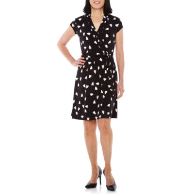 Liz Claiborne Short Sleeve Hearts Wrap Dress