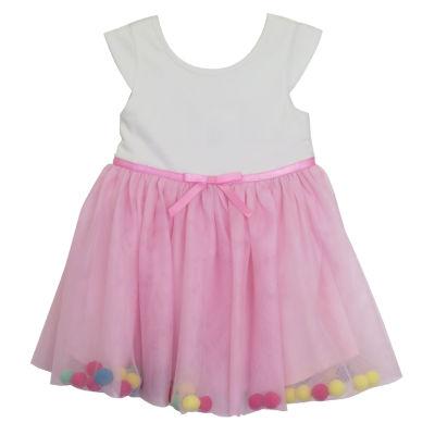 Lilt Short Sleeve Pom Pom Dress - Baby Girls