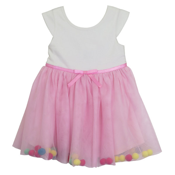 Lilt Short Sleeve Pom Pom Dress Baby Girls JCPenney