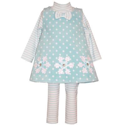 Bonnie Jean Long Sleeve 3pc Aqua Snow Set - Baby Girls