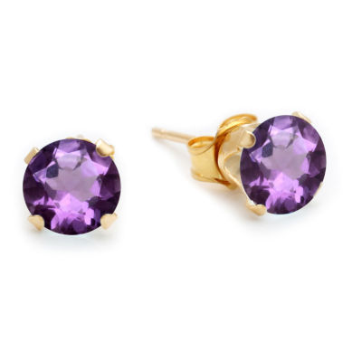 Genuine 6mm Amethyst 10K Yellow Gold Stud Earrings