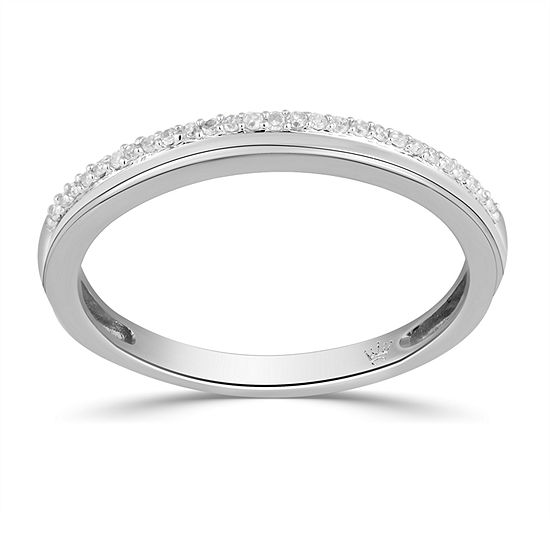 2.5MM Diamond Accent Genuine White Diamond 10K Gold Round Wedding Band