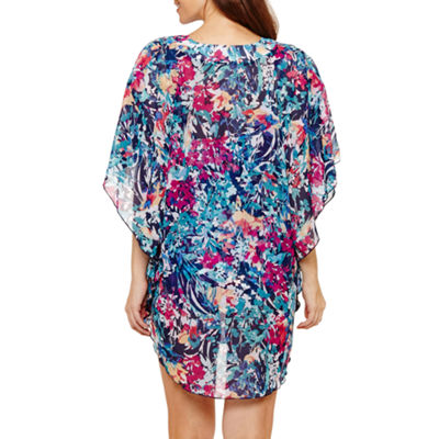 Azul by Maxine of Hollywood Floral Knit Swimsuit Cover-Up Dress