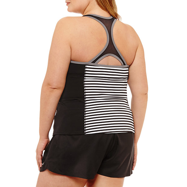 Nike Stripe Tankini Swimsuit Top-Plus