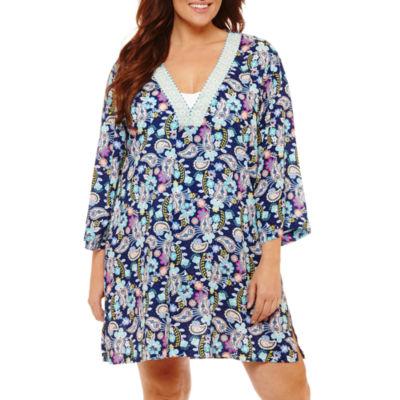 Liz Claiborne Paisley Woven Swimsuit Cover-Up Dress-Plus